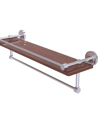 Allied Brass Dottingham Collection 22 in. IPE Ironwood Shelf with Gallery Rail and Towel Bar in Satin Chrome
