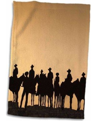 East Urban Home Couture USA Kansas Dodge City Cowboy Silhouettes Late Afternoon Hand Towel W001288123