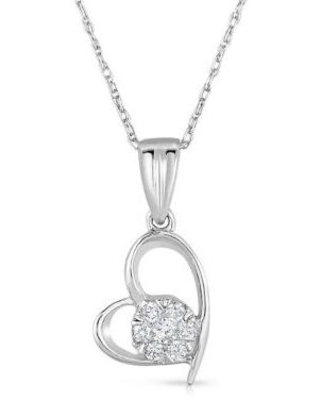 Diamour Silver 1/10 ct. t.w. Diamond Flower Heart Necklace in Sterling Silver