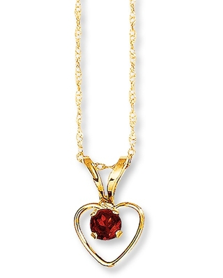 Jared The Galleria Of Jewelry Garnet Heart Necklace 14K Yellow Gold