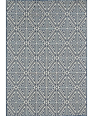 """Momeni Rugs , Baja Collection Contemporary Indoor & Outdoor Area Rug, Easy to Clean, UV protected & Fade Resistant, 6'7"""" x 9'6"""", Navy Blue"""