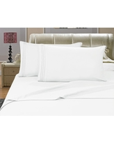 1500 Series 4-Piece White Triple Marrow Embroidered Pillowcases Microfiber Full Size Bed Sheet Set, Blues