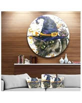 """Designart 'Halloween Cat And Witch Hat' Disc Contemporary Animal Metal Circle Wall Decor - 23"""" x 23"""" - Blue"""