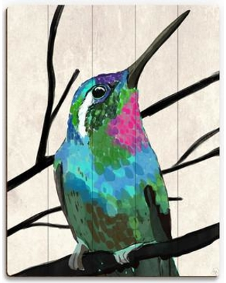 """Click Wall Art 'Humming Bird and Branches' Print of Painting on Wood BRD0000086PLK Size: 24"""" H x 20"""" W x 1"""" D"""
