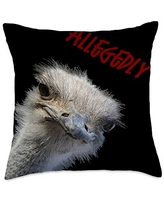 taiche Ostrich Funny Bird Face With Goofy Expression Throw Pillow, 18x18, Multicolor