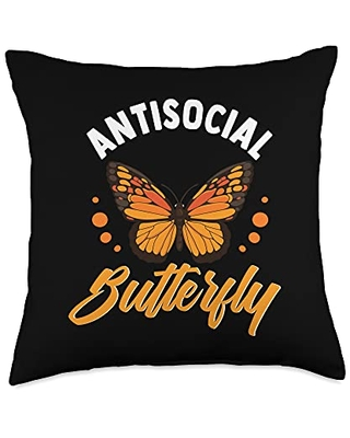 Funny Gift Idea For Introverts And Hermits Antisocial Butterfly Throw Pillow, 18x18, Multicolor
