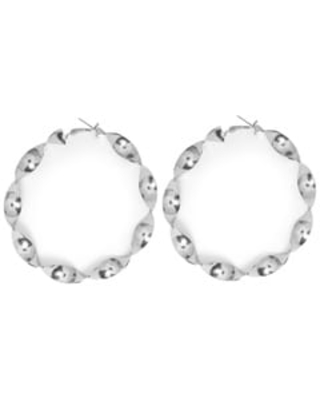 Big Round Twisted Hoop Earrings for Women's Fashion Jewelry Online (Silver)