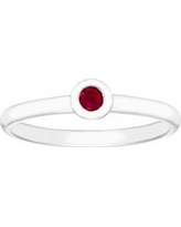 14k White Gold Birthstone Stack Ring, Women's, Size: 9, Red