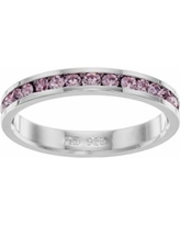 Traditions Sterling Silver Crystal Birthstone Eternity Ring, Women's, Size: 10, Blue