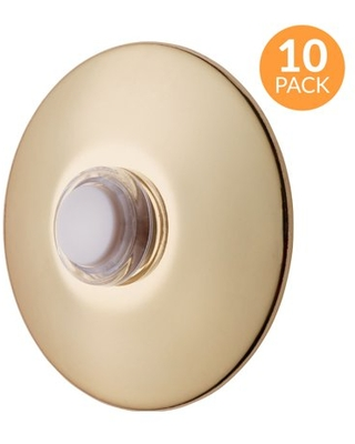 Newhouse Hardware 2-1/2 in. Round Lighted Wired Doorbell Push Button, Polished Brass, 10-Pack