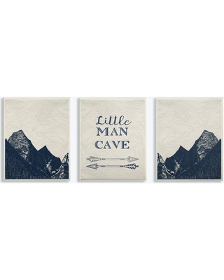 "3pc 10x0.5""x15"" Little Man Cave Arrows and Mountains Wall Plaque Art Set - Stupell Industries, Blue"