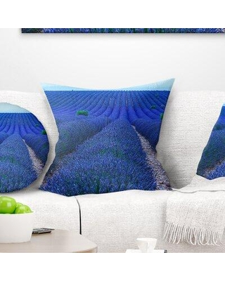 """East Urban Home Floral Lavender Field Sunset Near Valensole Pillow FTIF4035 Size: 18"""" x 18"""" Product Type: Throw Pillow"""