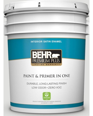 BEHR Premium Plus 5 gal. #BL-W13 Silver Polish Satin Enamel Low Odor Interior Paint and Primer in One