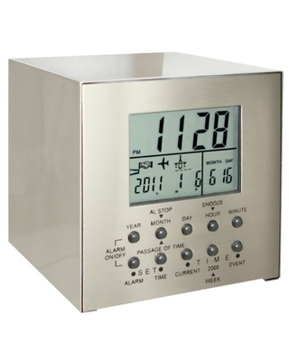 Natico Stainless Steel Cube Desk Clock with Multiple Countdown Functions (10-809)