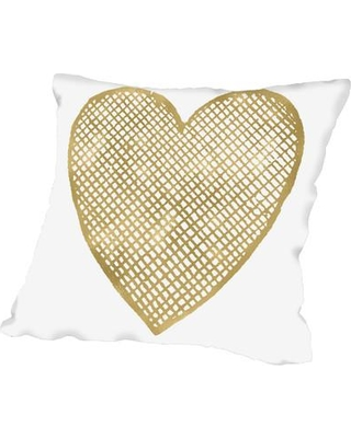 """East Urban Home Heart Crosshatched Throw Pillow in Yellow/Gold, Size 16"""" H x 16"""" W x 2"""" D 