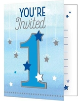 Creative Converting One Little Star Boy Birthday Paper Disposable Invitation DTC322248INV / DTC322268INV Color: Blue