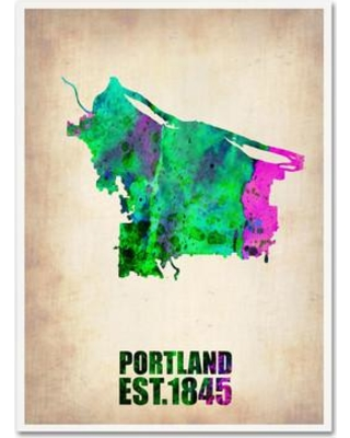 "Trademark Art ""Portland Watercolor Map"" by Naxart Graphic Art on Wrapped Canvas ALI0108-C Size: 47"" H x 35"" W x 2"" D"