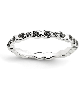 Sterling Silver Stackable Black and White Diamond Ring (9)