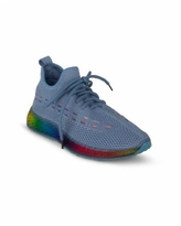 Wanted Women's Streak Rainbow Embroidered Sneakers - Medium Blue