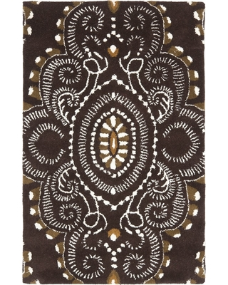 """2'6""""X4' Medallion Tufted Accent Rug Brown/Ivory - Safavieh"""
