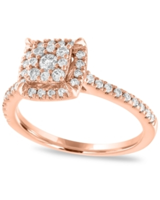 Diamond Halo Cluster Engagement Ring (1/2 ct. t.w.) in 14K Rose Gold