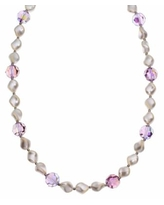 """""""Crystal Avenue Silver-Plated Crystal and Simulated Pearl Station Necklace - Made with Swarovski Crystals, Women's, Size: 16"""", Purple"""""""
