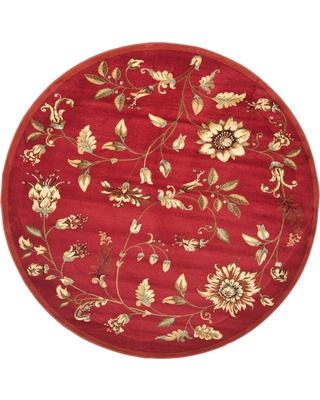 Red Floral Loomed Round Area Rug 5'3 - Safavieh