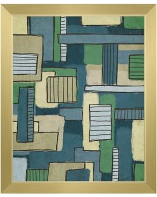 """Click Wall Art Bars and Boxes Green and Blue Framed Painting Print on Canvas CBS0002117FRA Format: Gold Framed Size: 26.5"""" H x 22.5"""" W"""