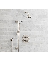 Victoria Thermostatic Cross-Handle Hand-Held Shower Faucet Set, Polished Nickel Finish