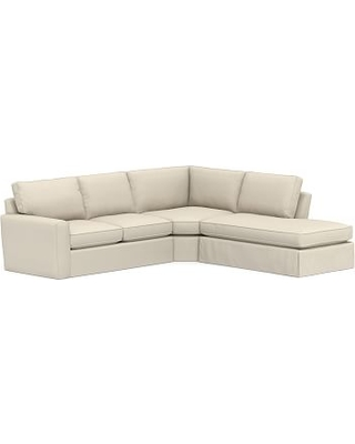Pearce Square Arm Slipcovered Left 3-Piece Bumper Wedge Sectional, Down Blend Wrapped Cushions, Performance Brushed Basketweave Ivory