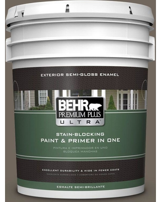 BEHR ULTRA 5 gal. #T16-20 Opus Semi-Gloss Enamel Exterior Paint and Primer in One