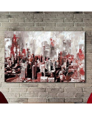 """Picture Perfect International Toronto Red Painting Print on Wrapped Canvas 704-4495 Size: 24"""" H x 40"""" W x 1"""" D"""