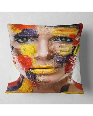 "East Urban Home Woman with Face Pillow VCBN5592 Size: 16"" x 16"" Product Type: Throw Pillow"