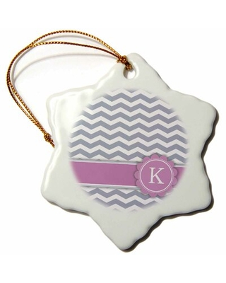 Letter R Monogrammed on Chevron Snowflake Holiday Shaped Ornament