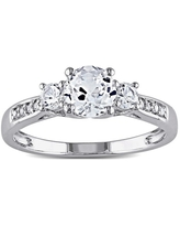 3-Stone Created White Sapphire and Diamond 10k White Gold Engagement Ring by Miadora (11)