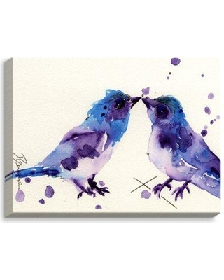 """DiaNoche Designs 'Spring Kiss Birds' by Dawn Derman Painting Print on Wrapped Canvas CAN-DawnDermanSpringKissBirds Size: 18"""" H x 24"""" W x 1.5"""" D"""