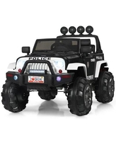 Costway kids 12v Ride On Truck Rc Car Spring Suspension W/Lights Music TrunkPlastic in Black, Size 32.0 H x 49.0 W x 31.0 D in   Wayfair