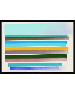 George Oliver 'Sea Stripes' Framed Graphic Art Print on Canvas BF171055