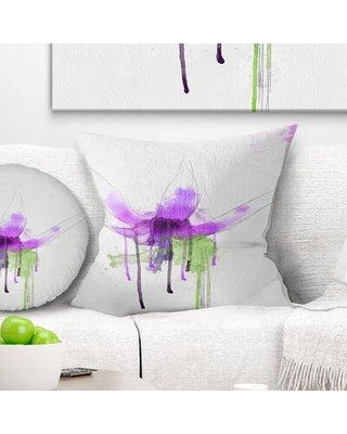 """East Urban Home Floral Flower with Splash Pillow FUSI4182 Size: 18"""" x 18"""" Product Type: Throw Pillow"""