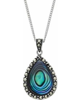 Tori Hill Abalone and Marcasite Sterling Silver Teardrop Pendant Necklace, Women's, White