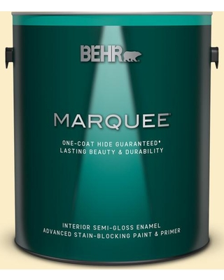 BEHR MARQUEE 1 gal. #330A-2 Frosted Lemon Semi-Gloss Enamel Interior Paint & Primer