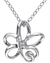 0.01 CT. T.W. Diamond Flower Pendant Necklace in Sterling Silver - I2:I3 - White