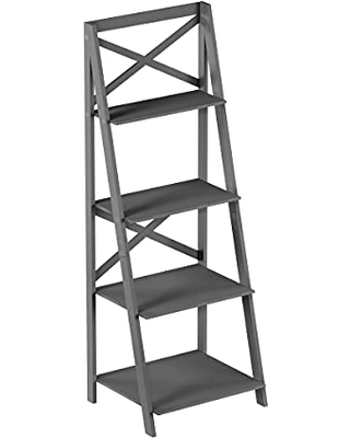 4 Shelf Ladder Bookshelf - Free Standing Tiered Bookcase, X Back Frame and Leaning Look Decorative Shelves for Home and Office by Lavish Home (Gray)