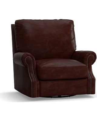 James Leather Swivel Armchair, Down Blend Wrapped Cushions, Leather Signature Espresso