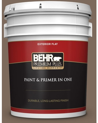 BEHR PREMIUM PLUS 5 gal. #QE-23 Chalet Flat Exterior Paint and Primer in One
