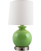 Bristol Clover Green Accent Outlet Table Lamp w/ USB Port