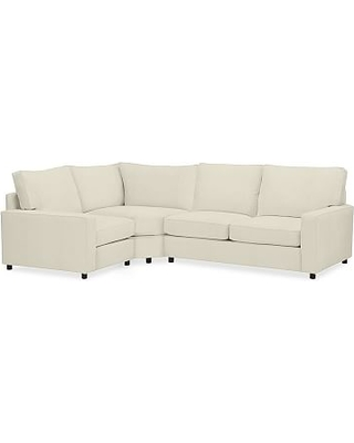 PB Comfort Square Arm Upholstered Right Arm 3-Piece Wedge Sectional, Box Edge Memory Foam Cushions, Premium Performance Basketweave Ivory