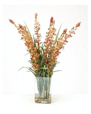 Waterlook (R) Lupin Spikes With Grasses In Tall Rectangular Glass Vase