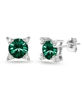 Sterling Silver Green Studded Solitaire Stud Earrings Made with Swarovski Crystals
