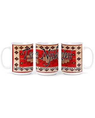 Tse Njikini (Cliff Dwelling Honey-Combed Rock) Navajo Clan with Red Rug Background on 15 Ounce White Coffee Mug
